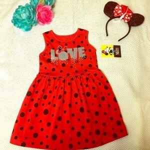 NWT Disney Mini Mouse Dress And Ear, Size XS 4-5